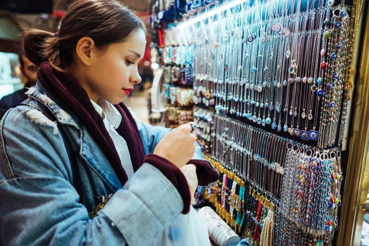 girl shopping in flea market